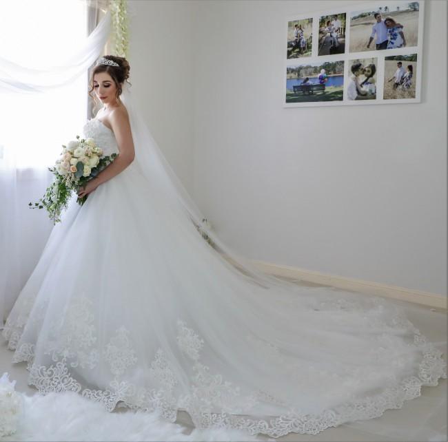 Blanche Bridal, Sabrina Dress and Cathedral Veil