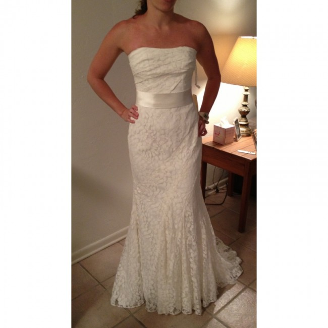 Galina Signature Strapless Lace Gown with Ribbon Detail - Used ...