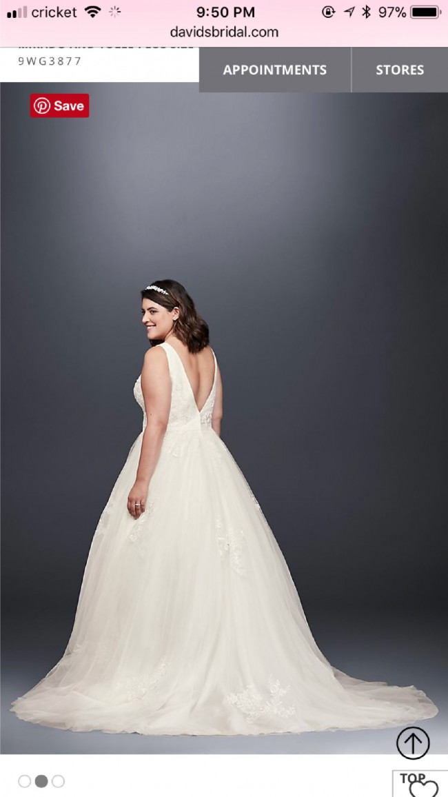 Davids Bridal Mikado And Tulle Plus Size Ball Gown Wedding Dress