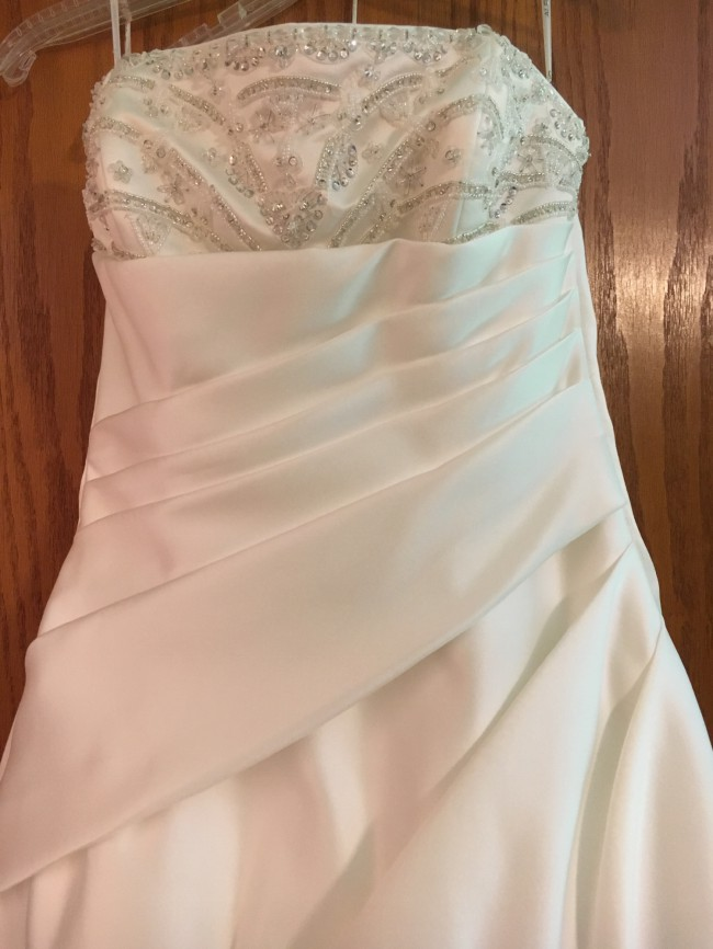 Alfred Sung, White, strapless, beaded. Adjustable back weaving