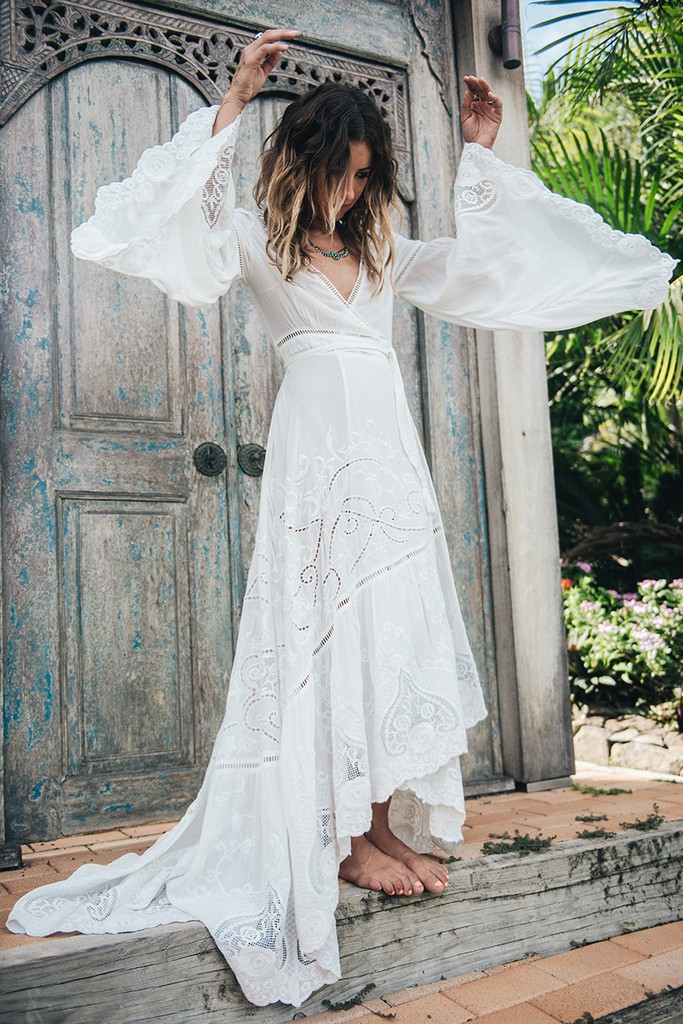 Spell designs gwendolyn wrap gown second hand wedding for Bohemian style wedding dresses for sale