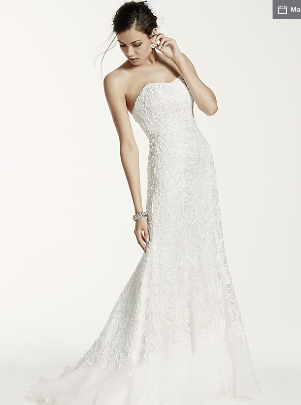 Galina Signature Lace overlay charmeuse wedding dress with train ...