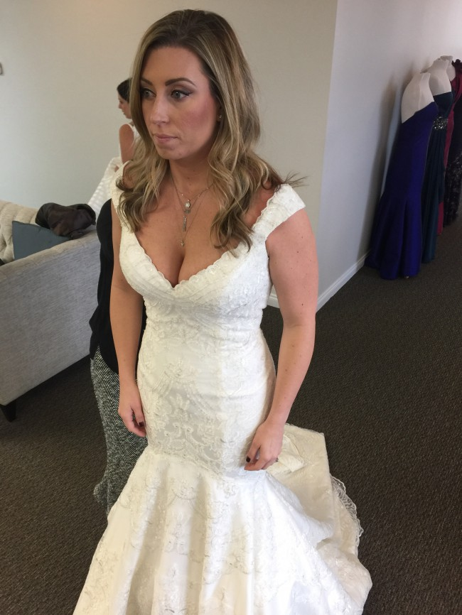Matthew christopher custom made monroe gown with straps for Matthew christopher wedding dress prices