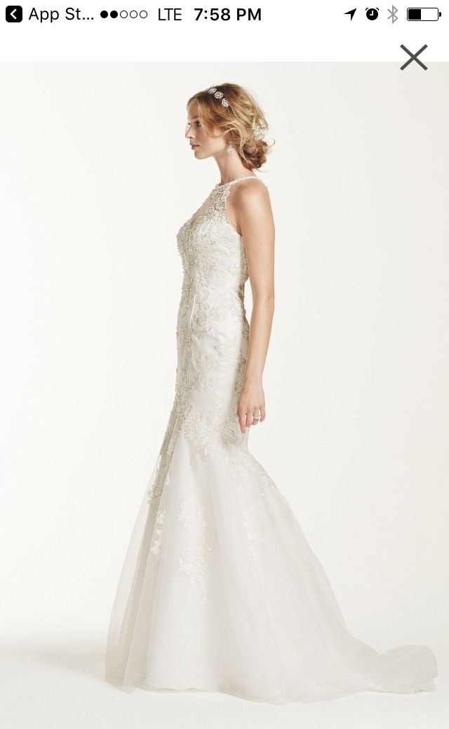 david 39 s bridal jewel lace and tulle illusion neck wedding