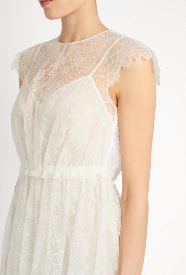 Valentino Lace Overlay Crepe Midi Dress Garment Bag Preowned