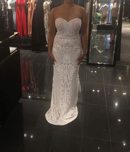Bariano Olivia Strapless Sequin Gown White/Nude New Wedding Dress on ...