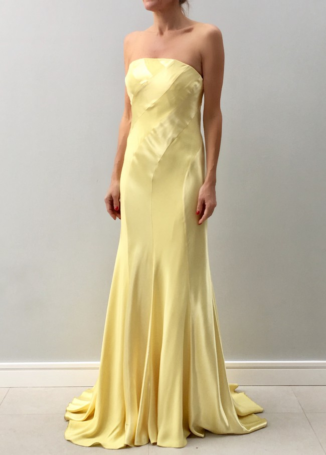 Sharon Cunningham Lemon bias cut swirl dress. - Sample Wedding ...