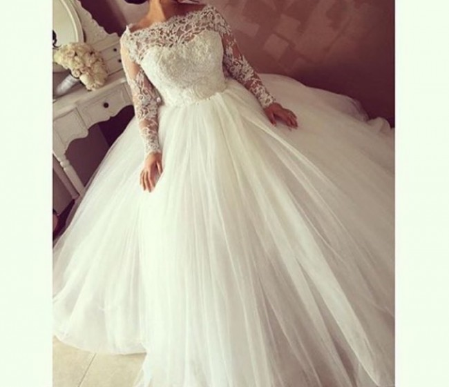 Personalised Weddings Couture Long sleeve French lace princess gown ...