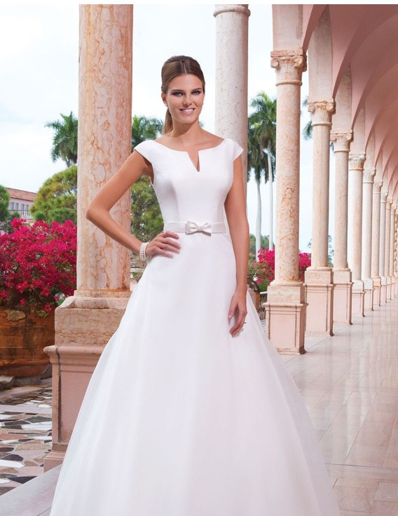 Sweetheart Gowns Sabrina Notch Neckline with Cap Sleeves Gown STYLE ...