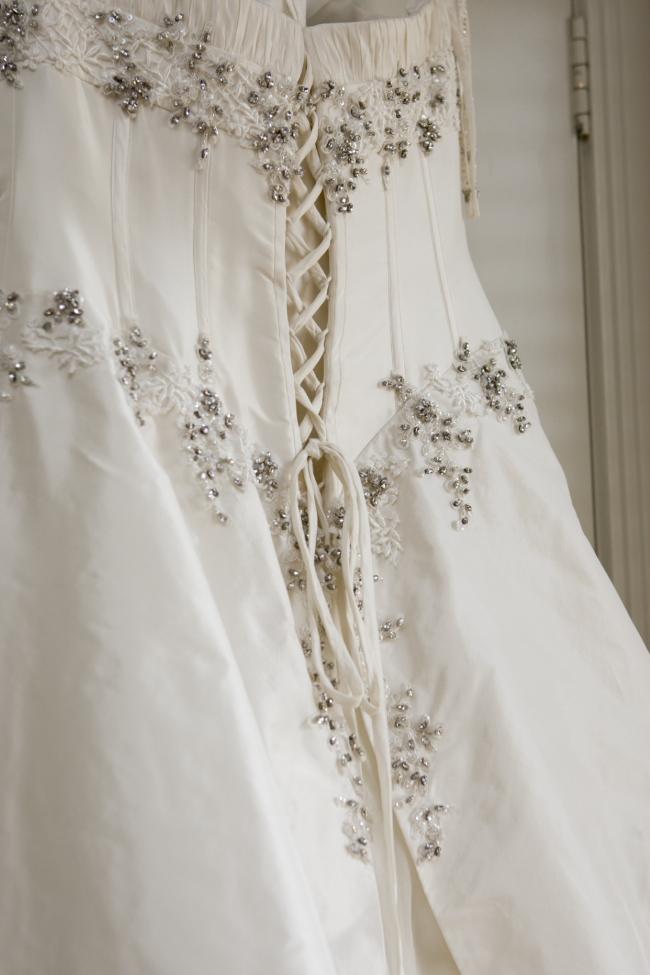 Carol li couture waterfall second hand wedding dresses for Waterfall design dress