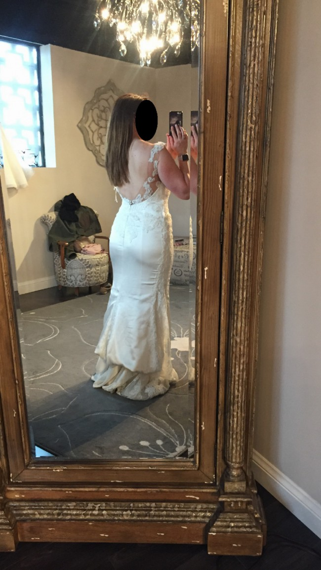 Pronovias presea mermaid style new wedding dress on sale for Wedding dress dry cleaning denver