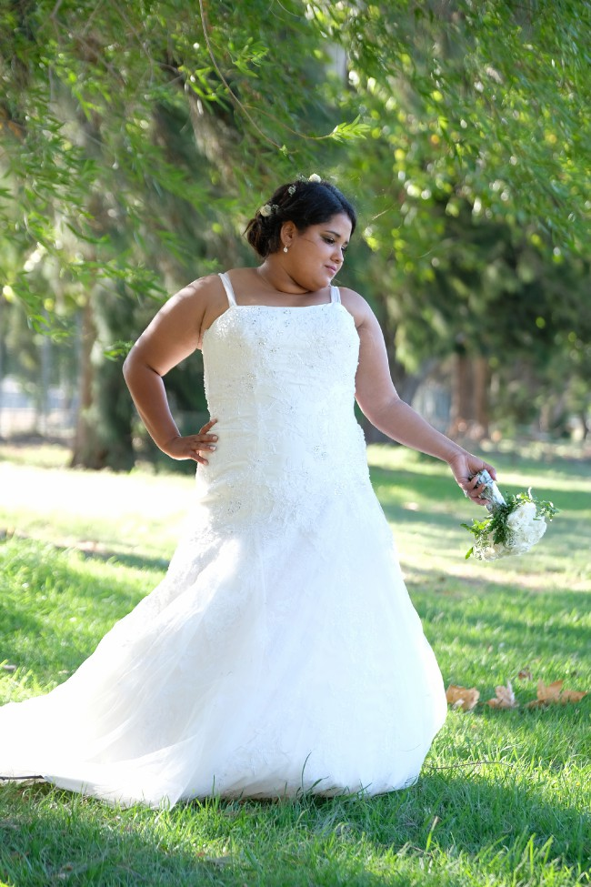 Oleg Cassini, Dual-lace, fit and flare wedding gown