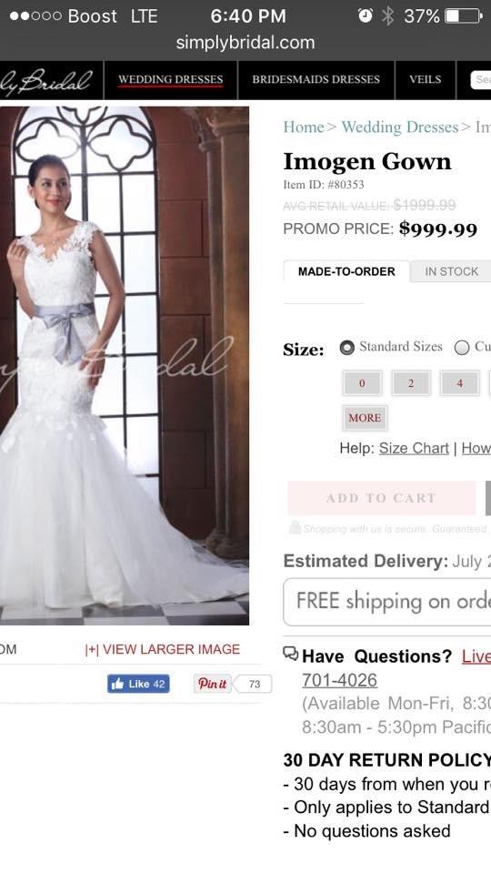 1fcefec1f24 Simply Bridal Imogen  80353 New Wedding Dress on Sale 72% Off ...