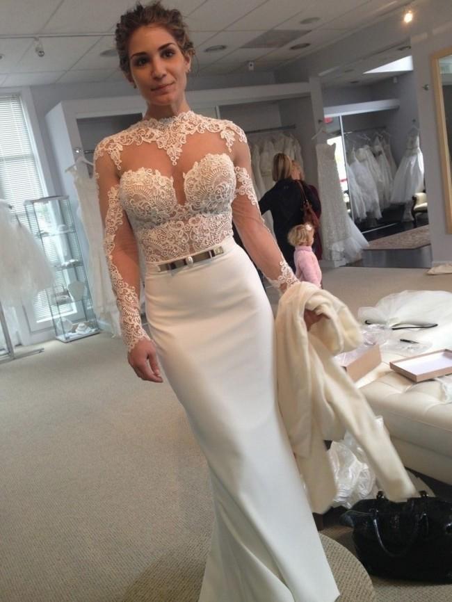 Berta Lace Sleeve Wedding Dress on Sale 41% Off