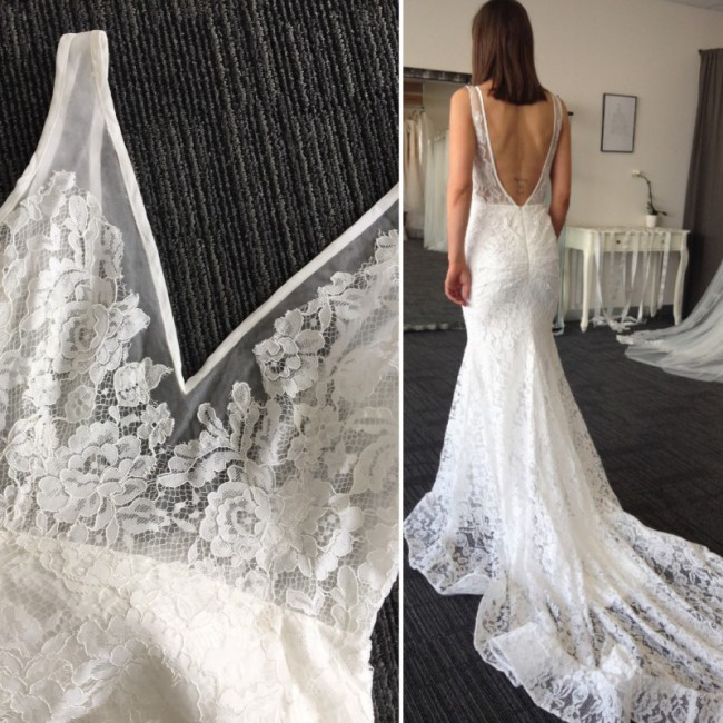 Datto Bridal, Pocket french lace wedding dress