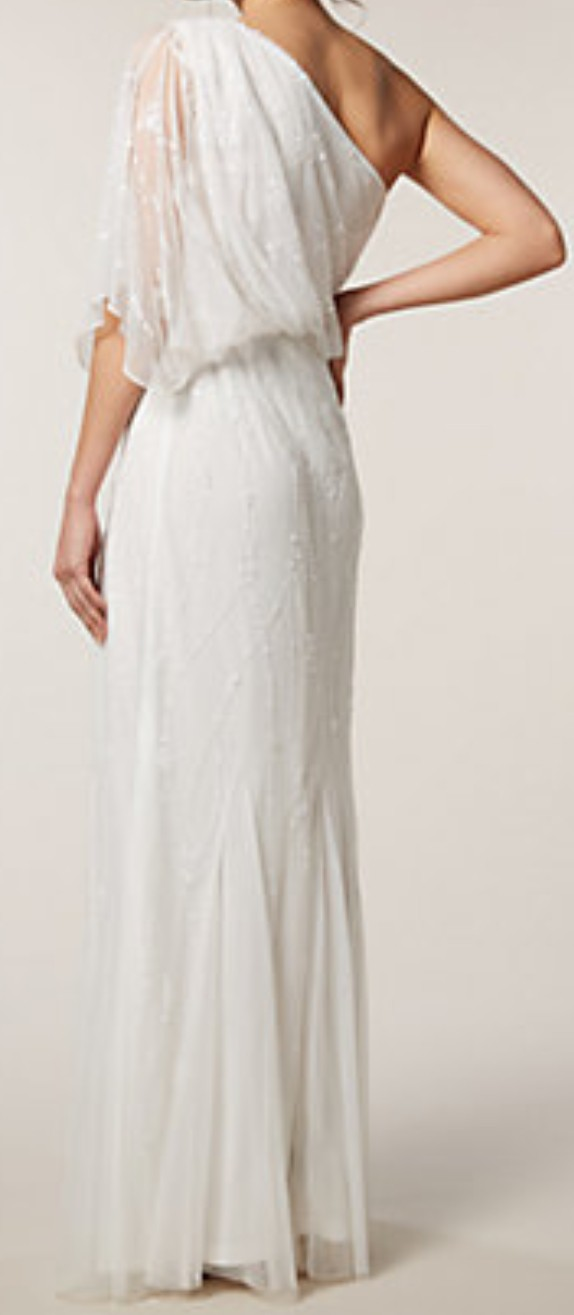 Raishma, One Shoulder White Gown