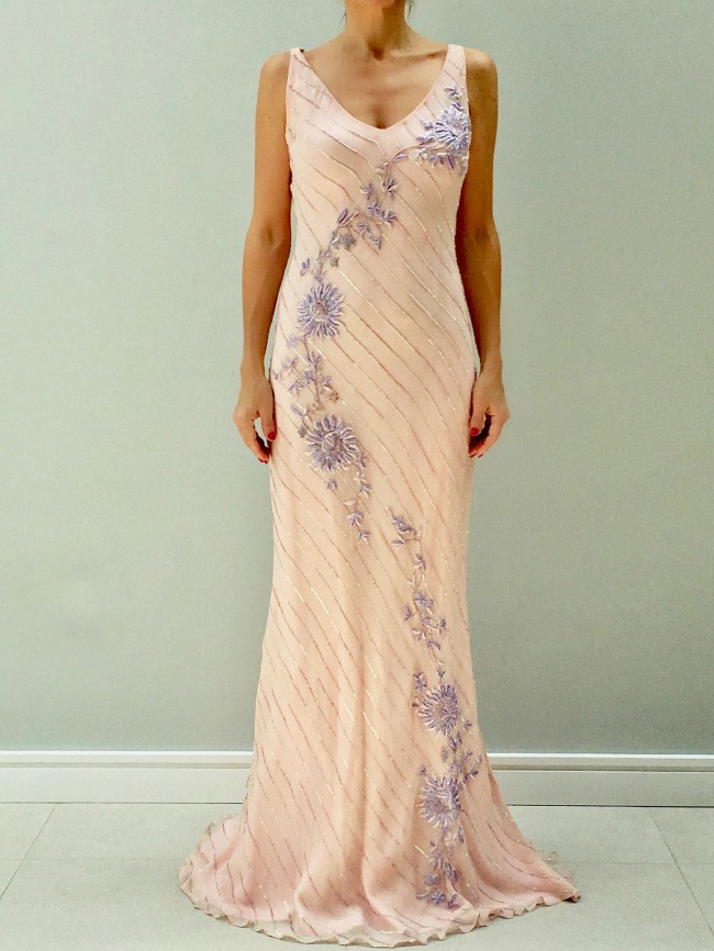 Sharon Cunningham Pale Pink Beaded Bias cut gown - Sample Wedding ...