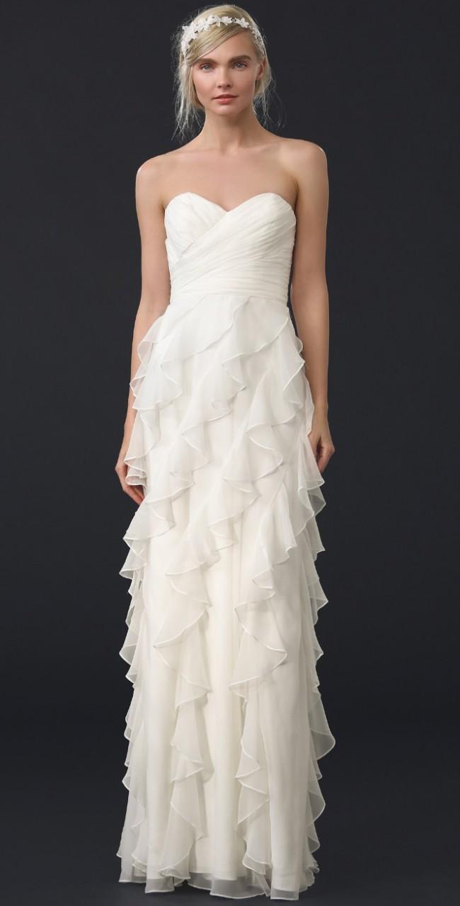 Badgley Mischka, Iridescent Strapless Ruffle Gown