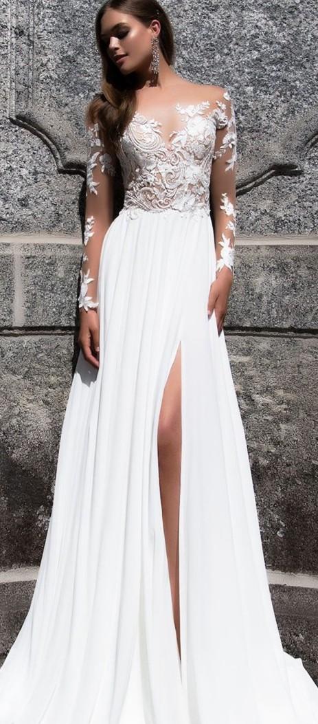 Milla Nova, Chiffon & lace white dress (style Magnolia)