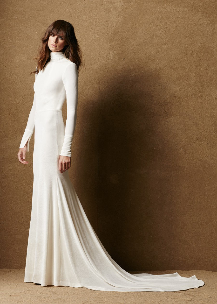 03 Modest Fitted Velvet Caroline Hayden A Contemporary Wedding Dress