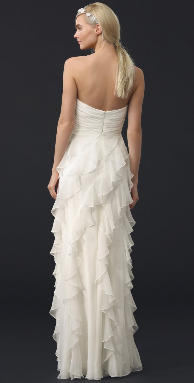 Badgley Mischka Iridescent Strapless Ruffle Gown Second Hand Wedding ...