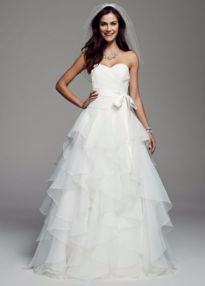 David's Bridal, Strapless Organza Wedding Dress with Ruffles