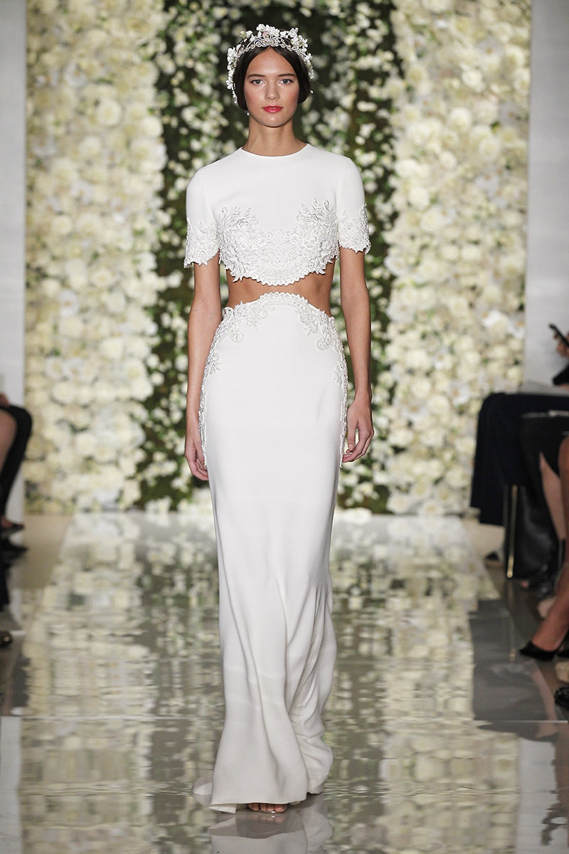 22 super stylish two piece wedding dresses reem acra im chic two piece gown project wedding ombrellifo Choice Image