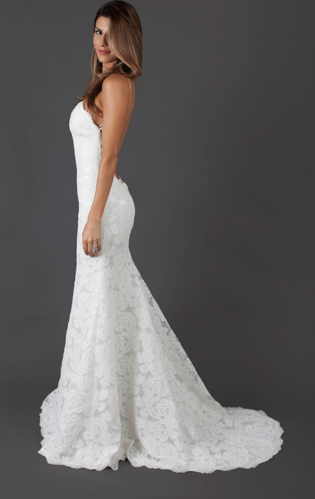 Katie may poipu low back gown second hand wedding dress on for Low back wedding dresses for sale