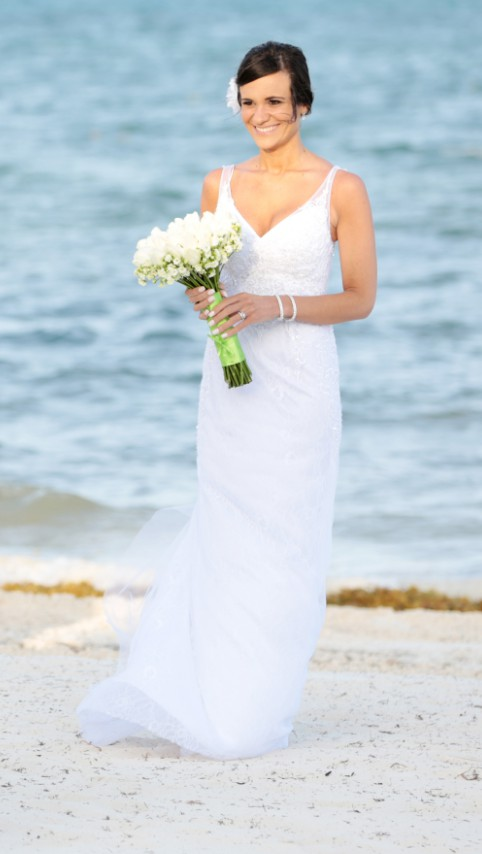 Galina Signature, Lace Sheath Gown with V neckline