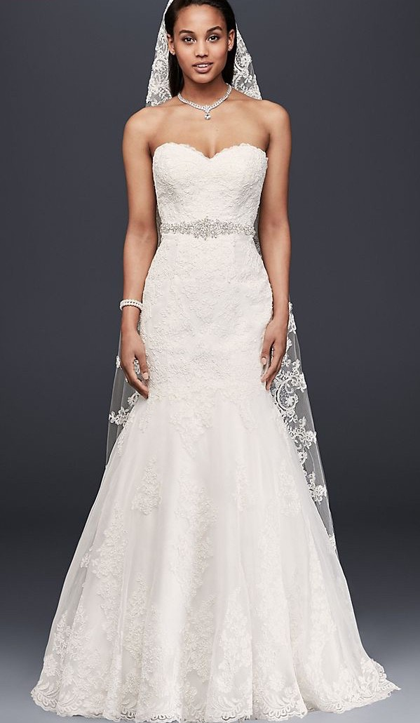 David's Bridal, Sweetheart Trumpet Wedding Dress with Beaded Sash