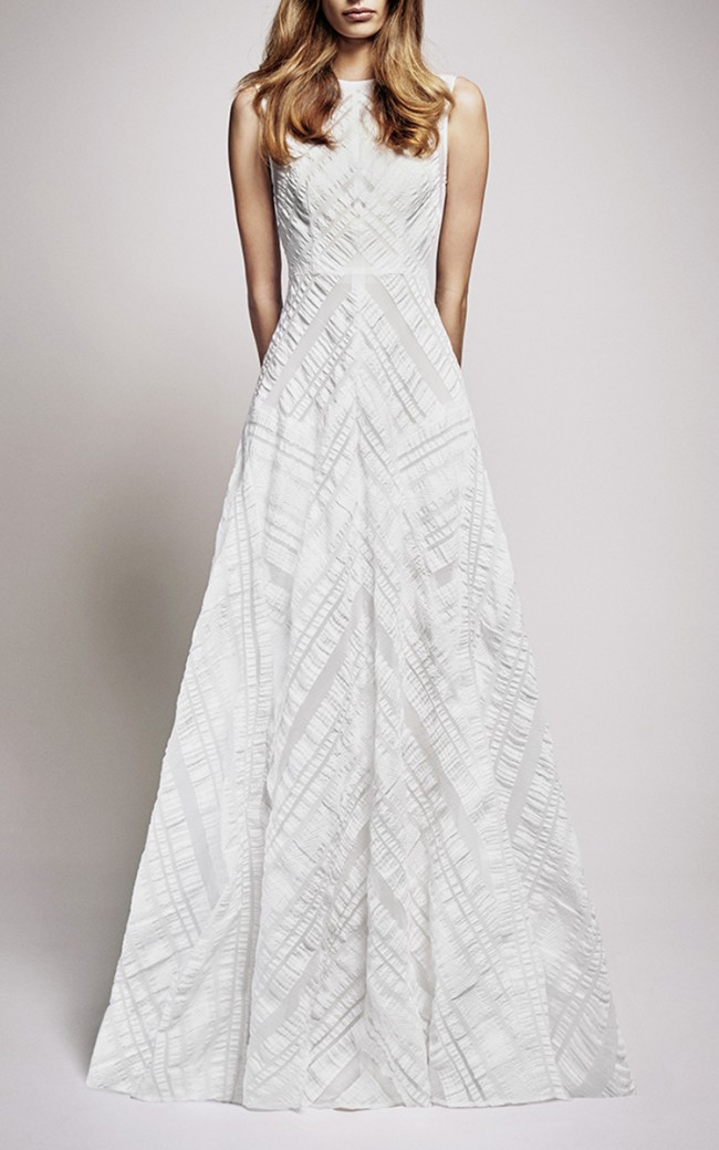 Alex Perry The Addilyn Seersucker Crew Neck Gown - New Wedding ...