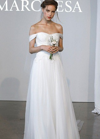 Marchesa off the shoulder preowned wedding dress on sale for Marchesa wedding dress price