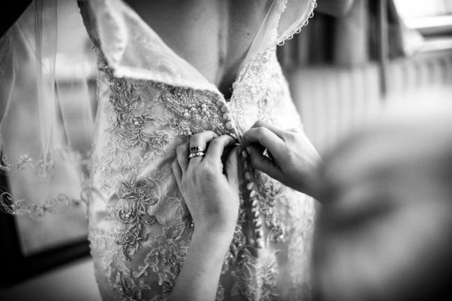 Justin Alexander, Beaded Metallic Venice Lace Trumpet Dress