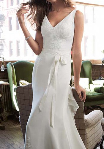 Galina Signature Chiffon Wedding Gown with Ruffle Detail and Lace S ...