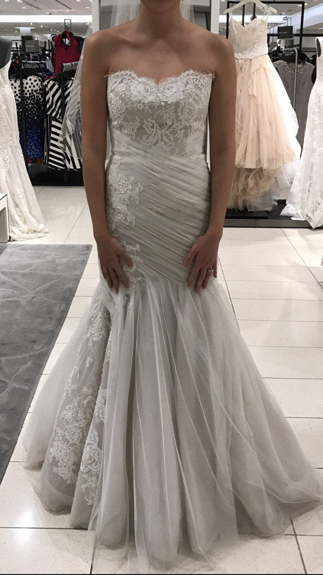 Monique Lhuillier, Bliss 1516 with custom detachable sleeves