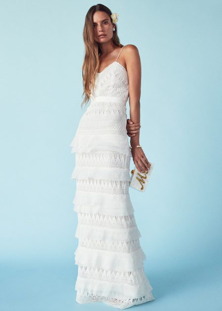 Self Portrait Penelope tiered crepon-trimmed guipure lace gown - New ...