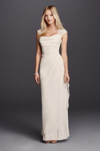 David\'s Bridal Lace Cap Sleeve Long Matte Mesh XS3450 New Wedding ...