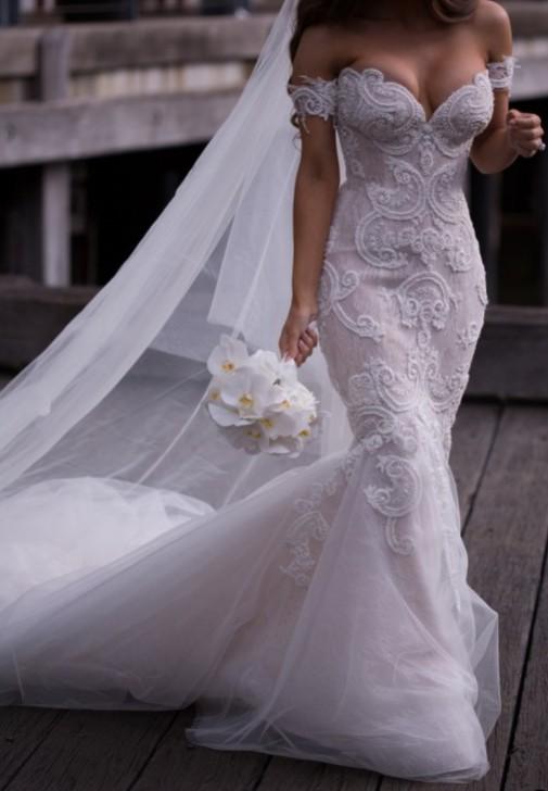 Steven Khalil Custom Made Used Wedding Dress On Sale 76