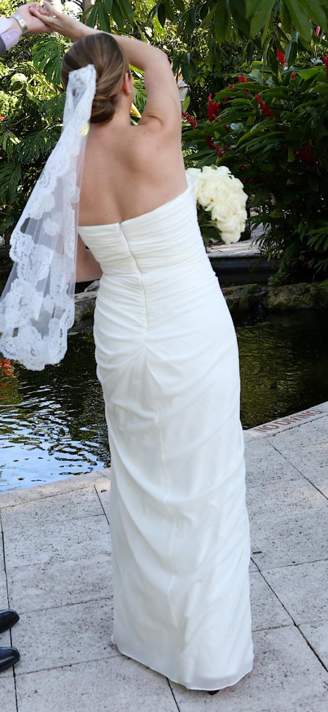 Badgley Mischka Strapless ruffle gown, Ivory Preloved Wedding Dress ...
