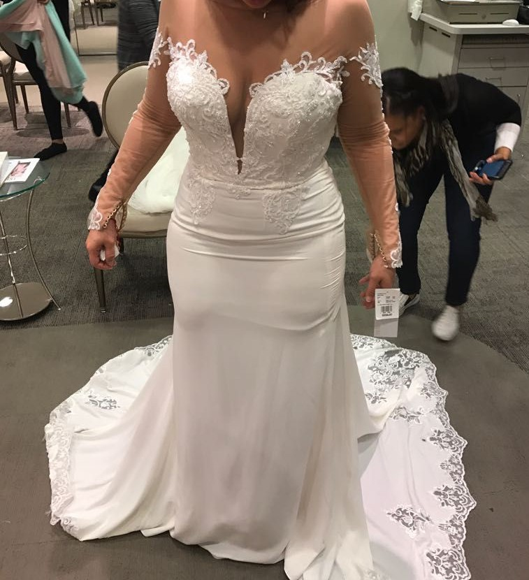 Galina signature crepe wedding dress with lace inset train for Galina signature wedding dresses