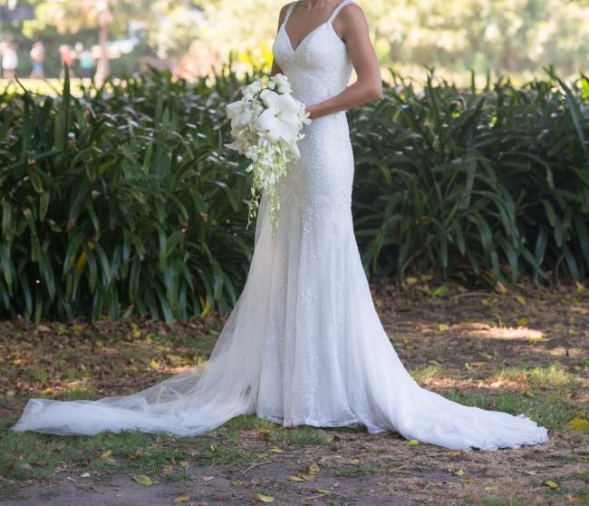 Martina Liana Cap Sleeve Wedding Dress. Style 624 Used