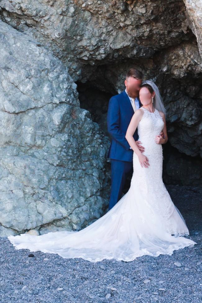 Essense of Australia, D2174 Lace Wedding Dress with Halter Neckline