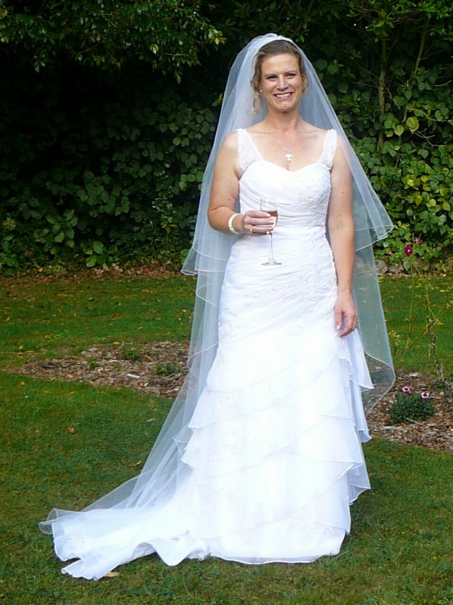 Ella Bridal Soft Organza Gown with Lace PreOwned Wedding Dress on ...