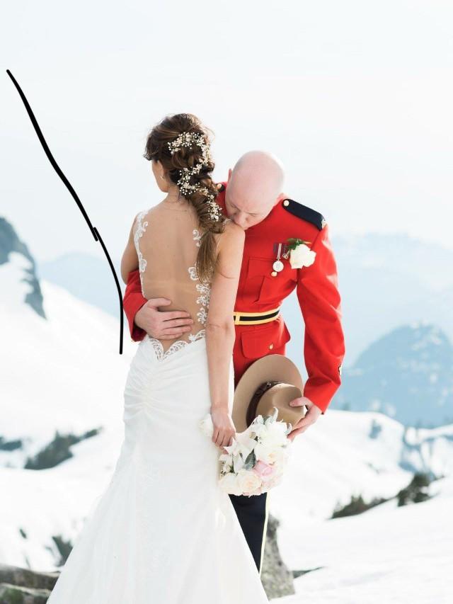 Galina Signature, Beaded lace wedding dress with illusion back