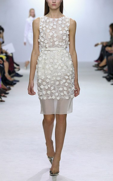 Giambattista Valli Ss Heavy Organza Embroidered Dress New
