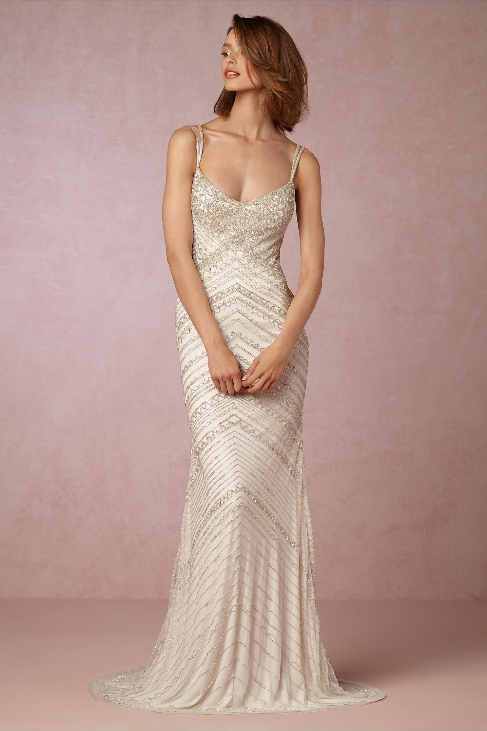 Bhldn joslyn gown style 39044854 second hand wedding for Long straight wedding dresses