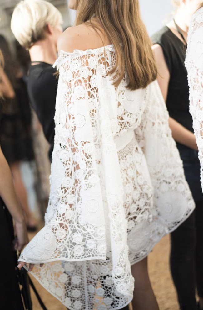 Chloe off the shoulder crochet dress second hand wedding for Crochet wedding dresses for sale