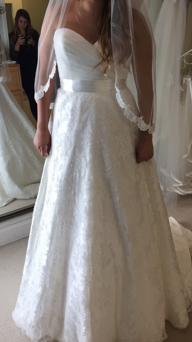Justin Alexander, Lace Strapless Gown