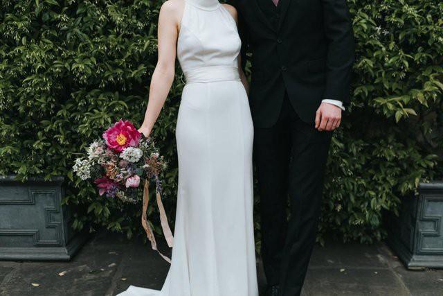 Vera Wang, White by Vera Wang High Neck Halter Wedding Dress