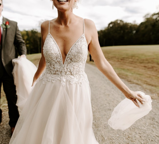 Galina Signature, Sheer Beaded Bodice Organza A-Line Wedding Dress S